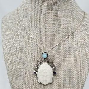 Jewelry - Carved Bone (OX), Larimar, Amethyst necklace.